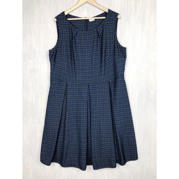 eshakti Dresses & Skirts - Eshakti plaid fit and flare pleated dress 24w blue